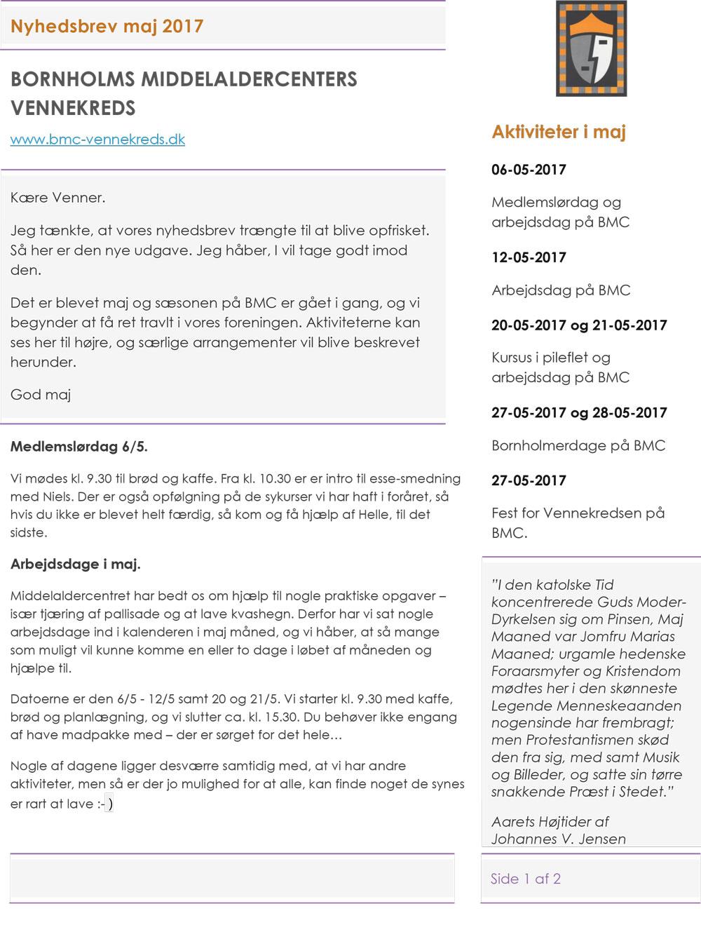 Bornholms Middelaldercenters Vennekreds - Maj 2017 - Nyt fra den Bornholmske Middelalder - Side 1