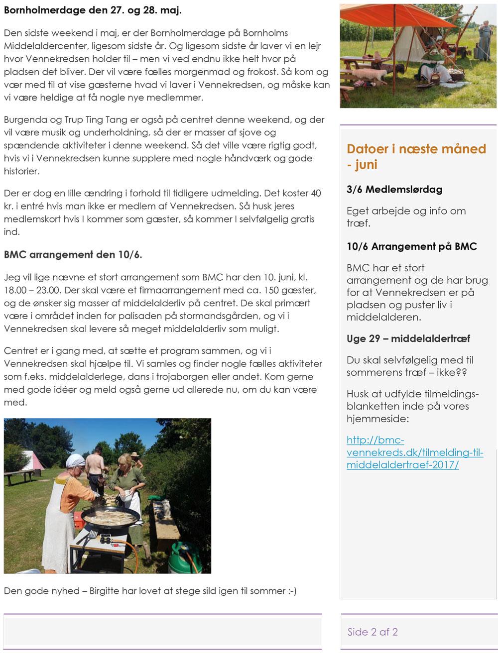Bornholms Middelaldercenters Vennekreds - Maj 2017 - Nyt fra den Bornholmske Middelalder - Side 2